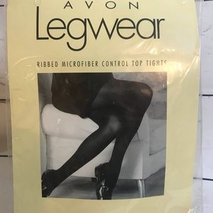Legwear size A Ribbed ControlTop Black Tights NIP
